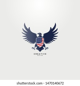 Eagle logo with an american flag shield on the eagle's chest, strong and bold design.