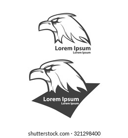 eagle for logo, american football symbol, simple illustration, sport team emblem, label