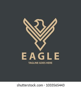 eagle logo design template. Eagle line logo design concept. Vector illustration