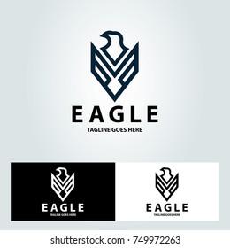 Eagle logo design template. Eagle line logo. Vector illustration