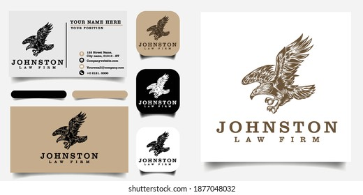 eagle logo for law firm template and business card Premium Vector