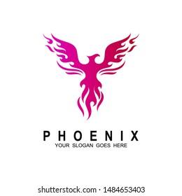 Eagle logo, Phoenix logo design template. Vector Illustration, Fire-bird, Eagle logo