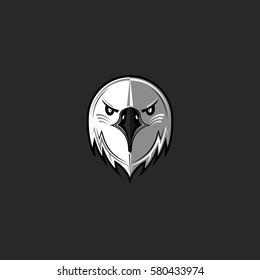 Eagle logo predator bird face aggressive, hawk head front view emblem black and white design element template, mascot sport team t-shirt print mockup