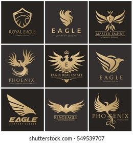 Eagle logo set, Brand identity with bird, Phoenix and wing symbols.