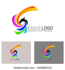Eagle logo, Sport logo with simple, colorful icon and 3d logo template