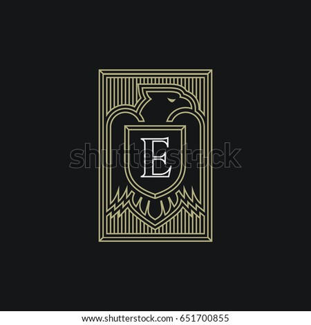 Eagle Logo Template Design With A Shield In Outline Style Vector Illustration