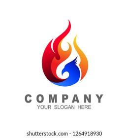 Eagle logo template, fire-bird, eagle logo and animal logo template