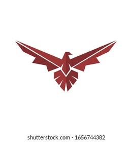 Eagle logo vector red design graphic, falcon or hawk illustration