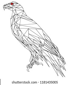 An eagle, low poly vector illustration.