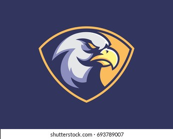 Eagle mascot design for logo. Sports branding. Eagle head badge. Sport logo vector template