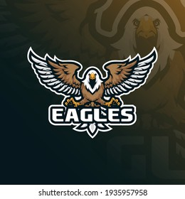 eagle mascot logo design with modern illustration concept style for badge, emblem and t shirt printing. eagle illustration for sport and esport team.