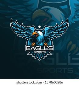 eagle mascot logo design vector with modern illustration concept style for badge, emblem and tshirt printing. flying eagle illustration.