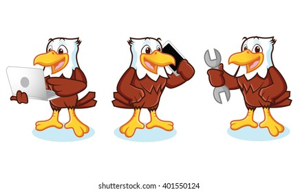 Eagle Mascot Vector with phone, laptop, and mechanics