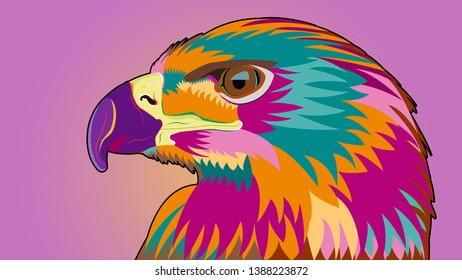 Eagle. Multicolored. Pop Art style. Vector graphics. Illustration.
