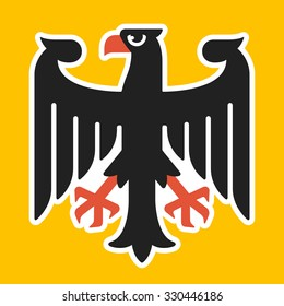 Eagle from national coat of arms of Germany in stylized, more modern and friendly style. Vector illustration.