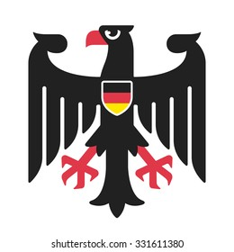 Eagle from national coat of arms of Germany in simple and modern style with German flag on shield. Isolated vector illustration.
