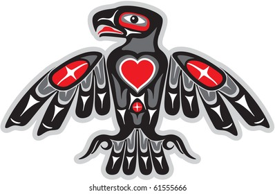 Eagle in Native Art Style with Heart Shape