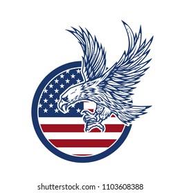 Eagle on american flag. Design element for logo, label, emblem, sign. Vector image