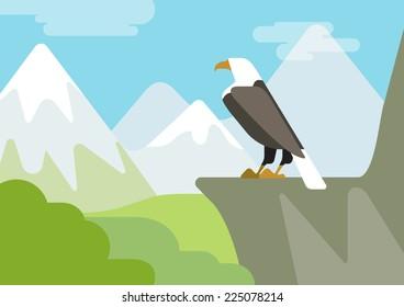 Eagle on the rock mountain habitat flat design cartoon vector wild animals birds. Flat zoo nature children collection.