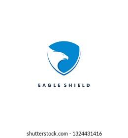 Eagle on the shield logo design icon vector