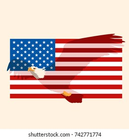 eagle on the USA flag vector illustration flat style