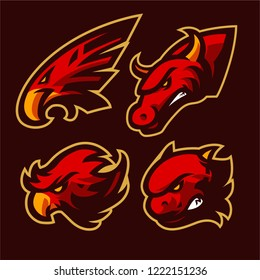 eagle, phonix, bull and dragon mascot logo vector template, set vector, 4 red mascot logo, vector illustrations, 4 animal mascot, angry mascot, aggressive animal
