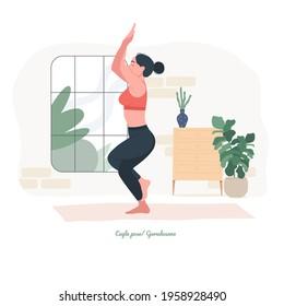 Eagle pose ,Garudasana Yoga pose. Young woman practicing yoga exercise. Woman workout fitness, aerobic and exercises. Vector Illustration.