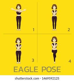 Eagle Pose Yoga Manga Tutorial How Cartoon Vector Illustration
