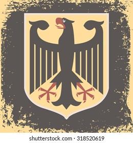Eagle rowed Germany on an old paper. shabby background
