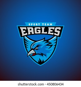 Eagle in a Shield. Abstract Vector Sport Emblem Template. League or Team Logo. University Crew Sign. On Dark Blue Background.