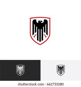 Eagle in a shield logo concept - vector illustration, emblem design on a white and dark background. EPS 10
