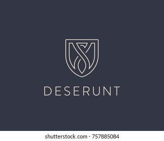 Eagle shield logo design. Linear dragon vector logotype
