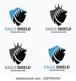 Eagle shield logo design template. Eagle head design concept. Vector illustration