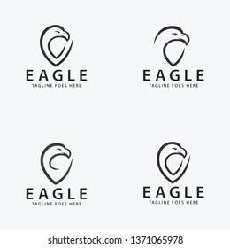 Eagle shield logo design template. Eagle logo set. Vector illustration
