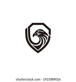 Eagle in a shield template logo. Vector Eps10