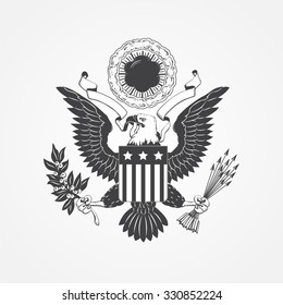 Eagle with shield. Typographic labels, stickers, logos and badges. Flat vector illustration