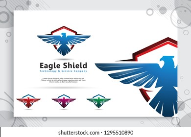 Eagle shield vector logo designs with modern style for technology company, Bird shield illustration for cyber security and software digital template.
