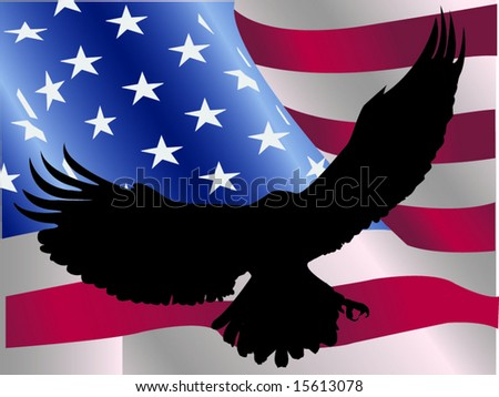 Eagle Silhouette Against American Flag Stock Vector Royalty Free