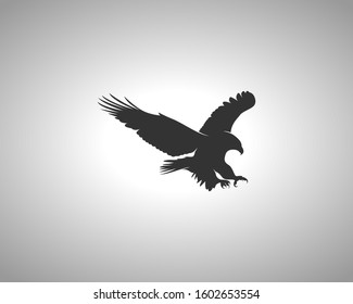 Eagle Silhouette on White Background. Isolated Vector Animal Template for Logo Company, Icon, Symbol etc