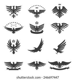 Eagle silhouettes bird heraldic symbols icons black set isolated vector illustration