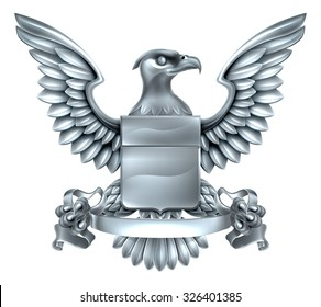 An eagle silver metal shield heraldic heraldry coat of arms design with a banner scroll.