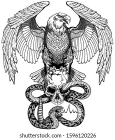 Eagle sitting on the human skull wrapped with snake. Angry dangerous rattlesnake. Black and white Tattoo or shirts design style vector illustration. Front view