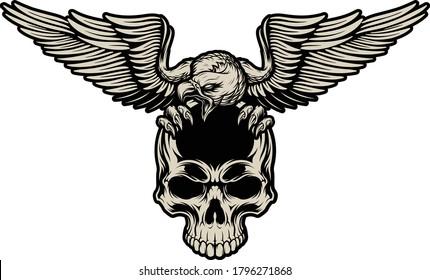 EAGLE WITH SKULL HEAD VECTOR DESIGN