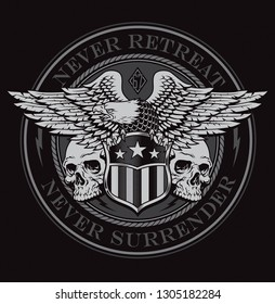 Eagle with skulls and shield emblem graphic