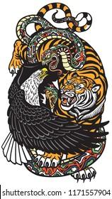 eagle snake and tiger. Three spiritual symbolic animals . Tattoo style vector illustration