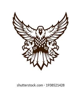 Eagle sport Mascot Logo Design Illustration Vector black and white version