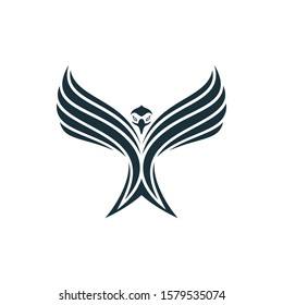 Eagle spread its wings and rising into sky. Eagle icon with stripes.