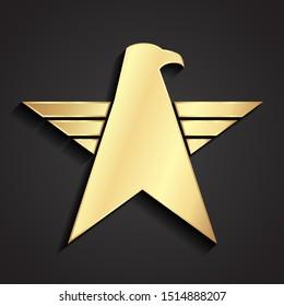 eagle star 3d golden military logo