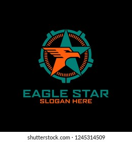 Eagle Star Badge Tactical Military logo design Template