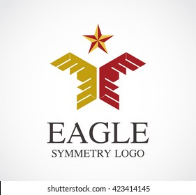Eagle star of power wing abstract vector and logo design or template bird badge business icon of company. Identity symbol concept